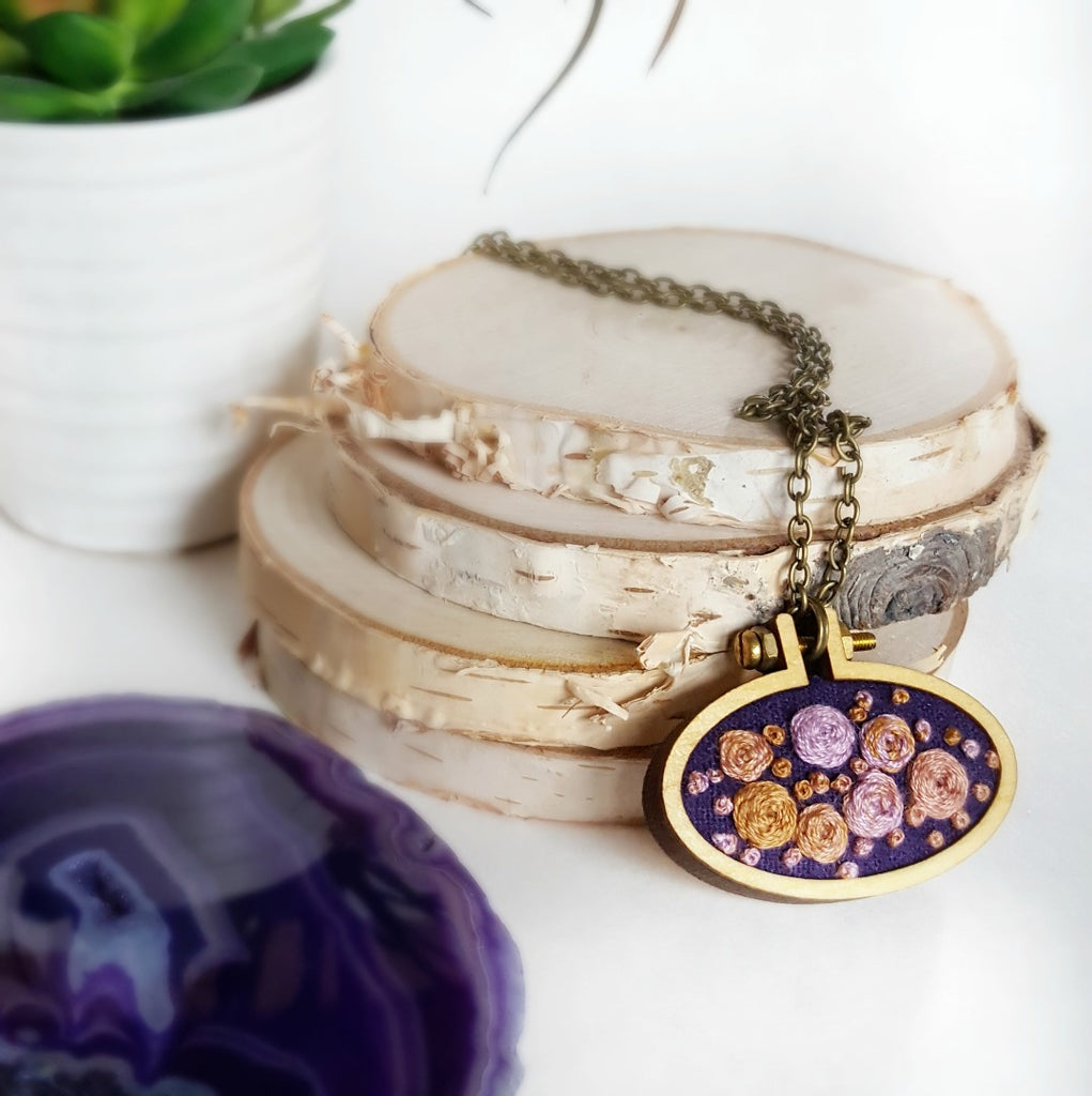 hand embroidered purple rosette necklace