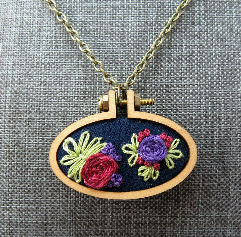 floral rosette embroidered necklace