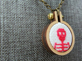 red skeleton cross stitch modern cameo pendant Pretty In Skulls Collection