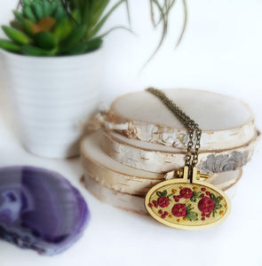 boho chic floral rosette embroidered necklace