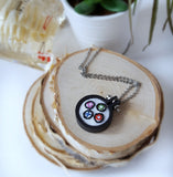 video game embroidered necklace