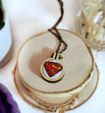 hand embroidered Superman S logo necklace