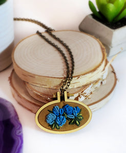 hand embroidered turquoise and blue roses necklace