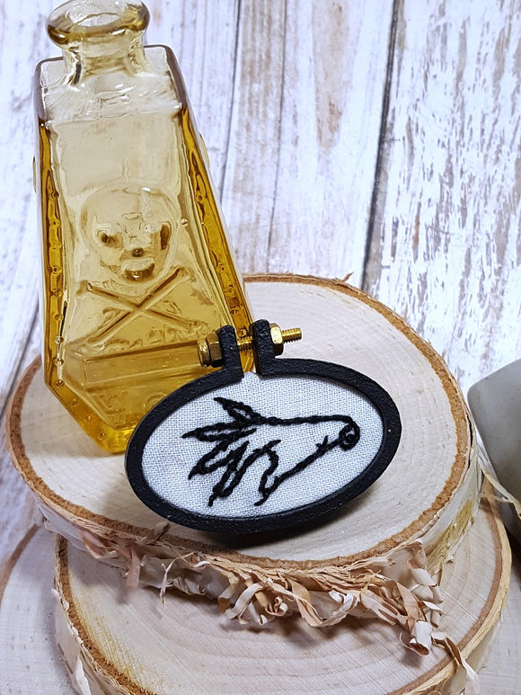 embroidered witch hand pin