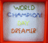 world champion day dreamer mini framed hand embroidery