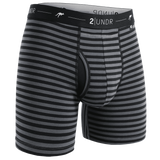 "Day Shift 6"" Boxer Brief - Black/Grey Stripes"