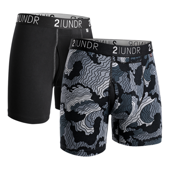 2UNDR Swing Shift Boxer Brief - Black & Tsunami (2 PACK)