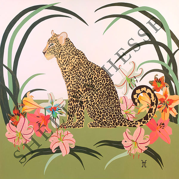 Leopard With Lilies