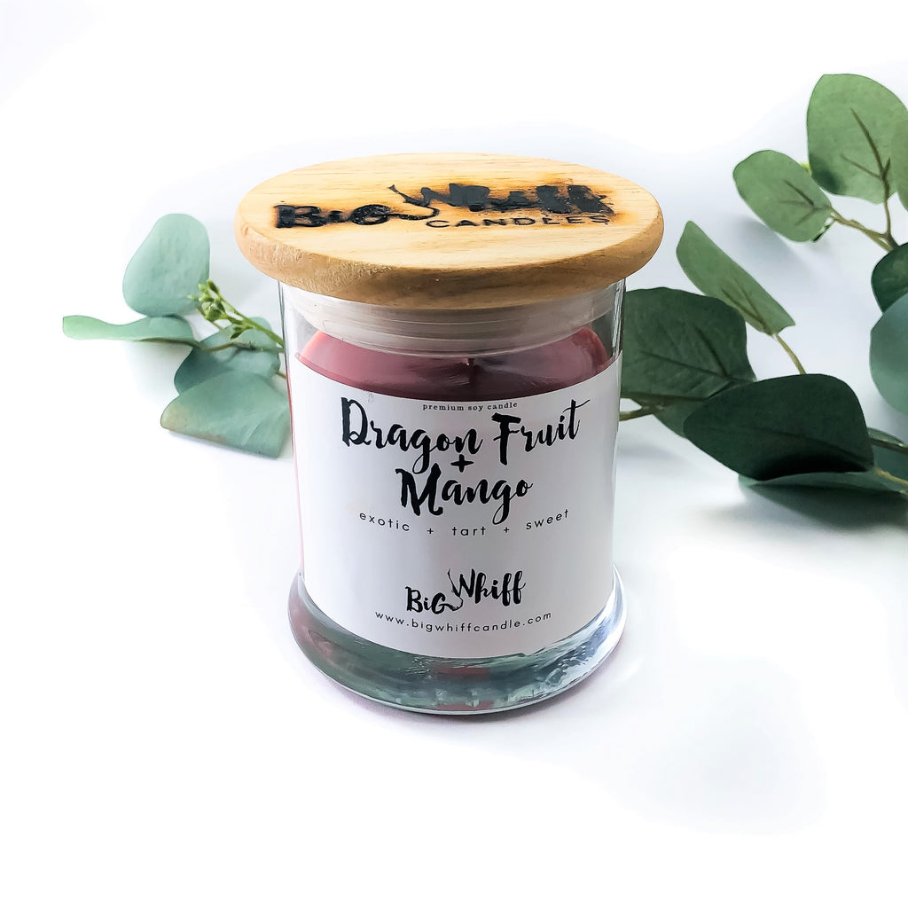 Wood Wick Candle - Dragon Fruit + Mango - Scented Soy Candle, Pure Soy Wax, Wood Wick Candles, Vegan Natural Organic Handmade - Big Whiff Candle Co.