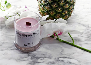 Wood Wick Candle - Lady Slipper Orchid  - Pure Soy Candle, Wood Wick Candles, Vegan Natural Organic, Handmade Glass Jar - Botanical Collection - Big Whiff Candle Co.