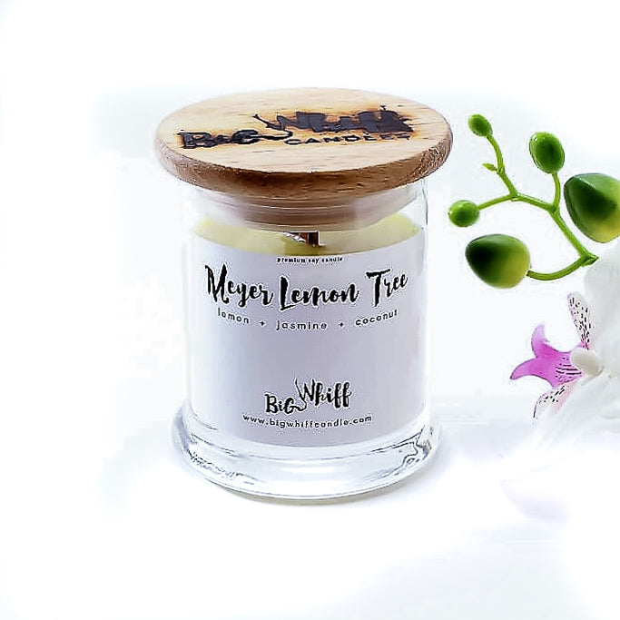 Wood Wick Candle - Meyer Lemon Tree  -  Pure Soy Candle, Wood Wick Candle, Vegan Natural Organic, Handmade Glass Jar - Botanical Collection - Big Whiff Candle Co.