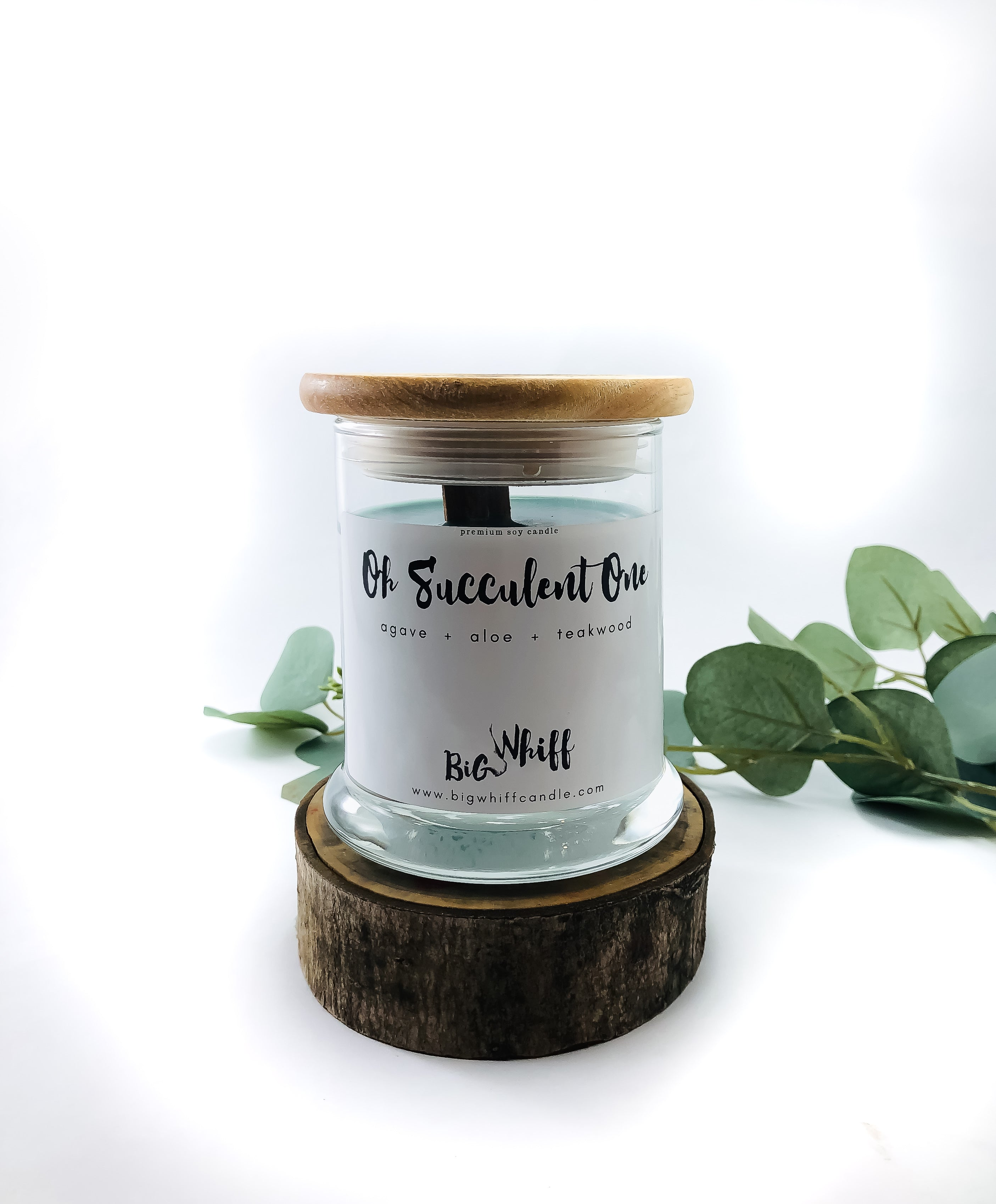 Wood Wick Candle - Oh Succulent One  -  Pure Soy Candle, Wood Wick Candles, Vegan Natural Organic, Handmade Glass Jar - Botanical Collection - Big Whiff Candle Co.