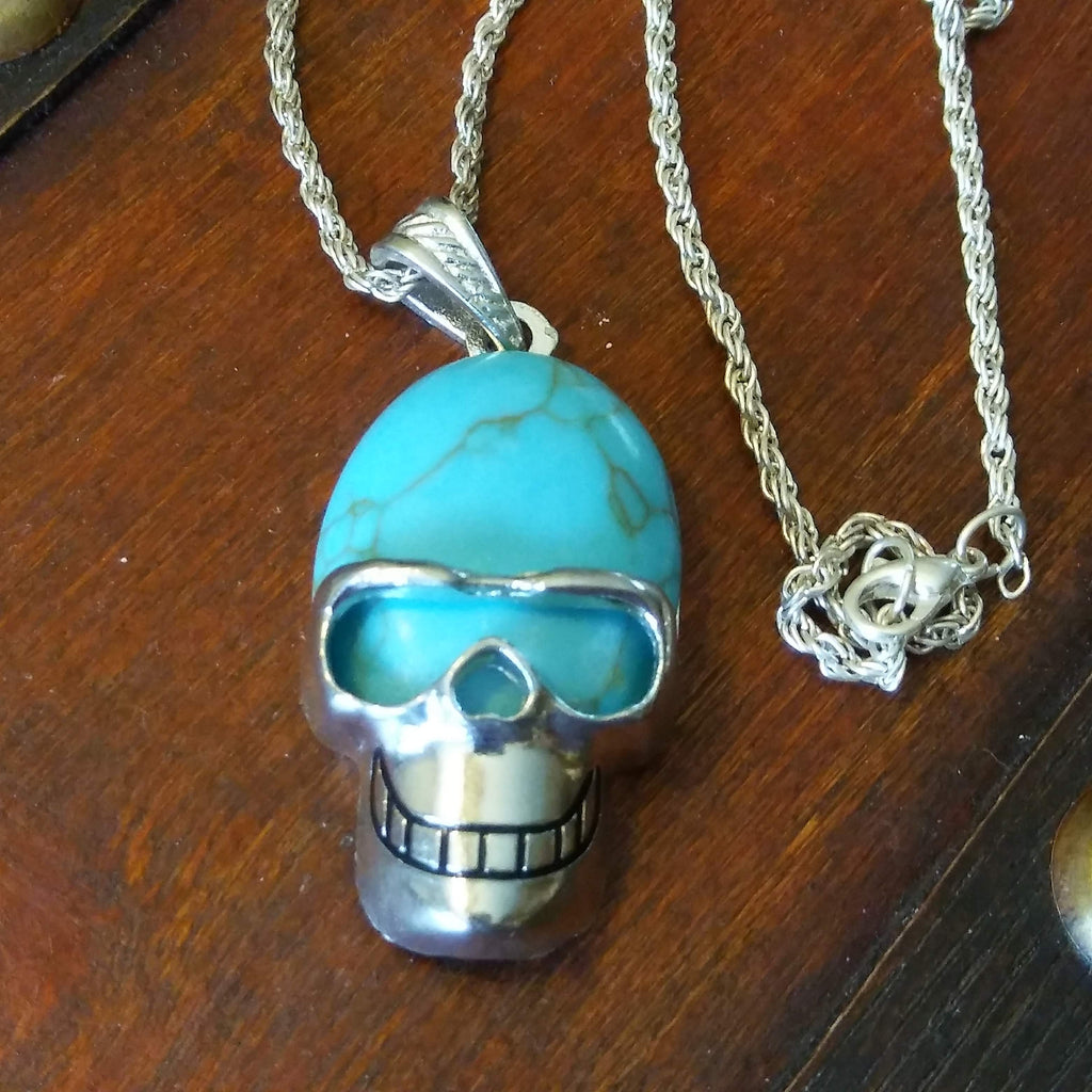 Blue Skull Necklace spelled