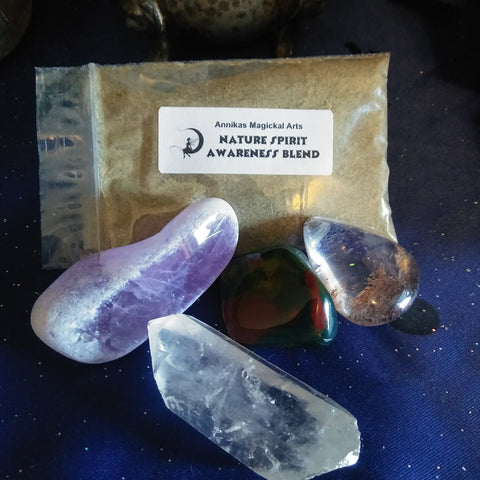 Nature Spirits Awareness Stone with Herb Blend