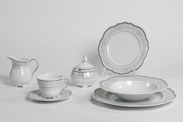 22-Piece Tea & Dinner Set | Gloria - Diamond Fine Porcelain - 1