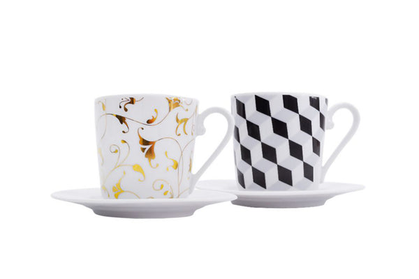 Set of 2 Cups & Saucers | Cosmopolitan - Diamond Fine Porcelain - 1