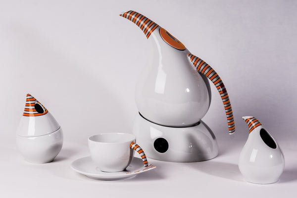 12-Piece Tea Set, Orange Stripes | Kropla - Diamond Fine Porcelain