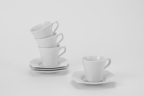 Set of 4 Cups & Saucers | Lwow - Diamond Fine Porcelain