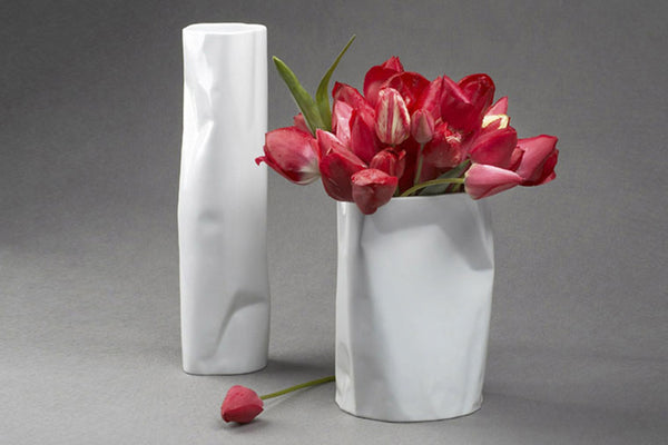 Bent Vase Low 20cm - Diamond Fine Porcelain - 1