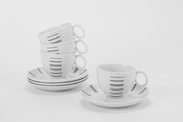 Set of 4 Cups & Saucers | Quebec - Diamond Fine Porcelain