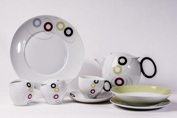 23-Piece Tea & Dinner Set | Quebec - Diamond Fine Porcelain - 1