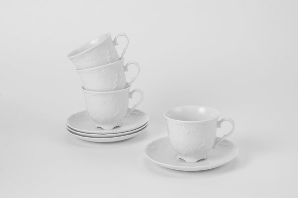Set of 4 Cups & Saucers | Rococo - Diamond Fine Porcelain