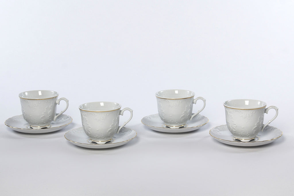 Set of 4 Cups & Saucers | Gold Line | Rococo - Diamond Fine Porcelain