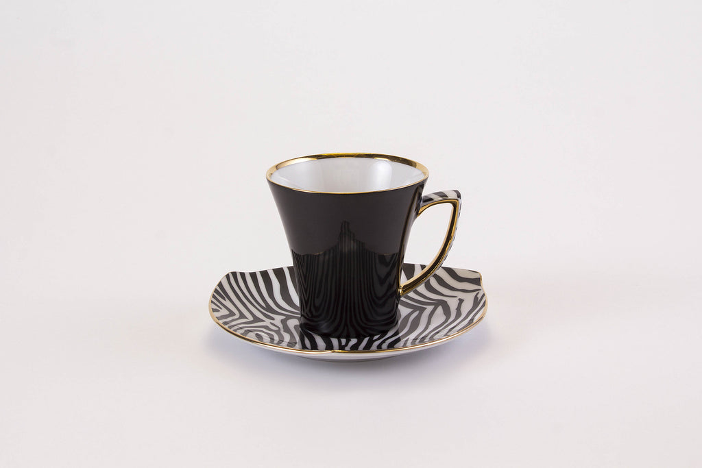 Elegant Cup & Saucer in Black | Happa - Diamond Fine Porcelain - 2
