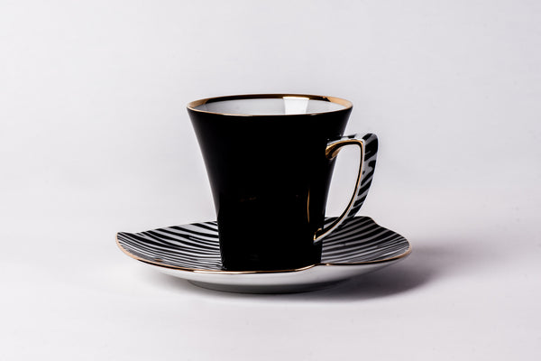 Elegant Cup & Saucer in Black | Happa - Diamond Fine Porcelain - 1