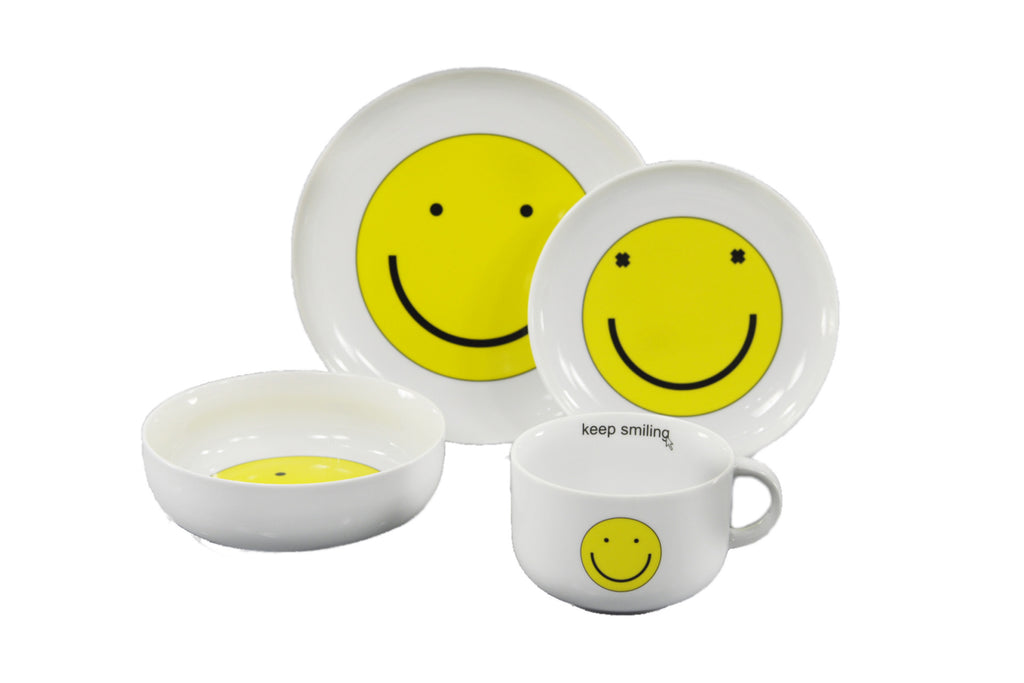 4-Piece Breakfast Set | Smiley - Diamond Fine Porcelain