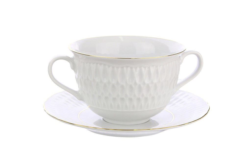 Bouillon Cup with Saucer | Gold Line | Sofia