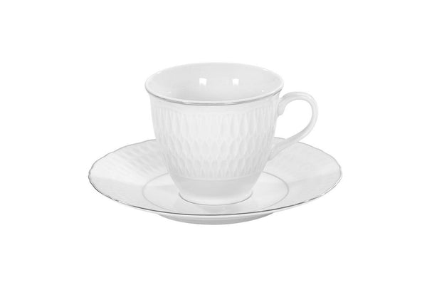 Set of 4 Cups & Saucers | Platinum | Sofia