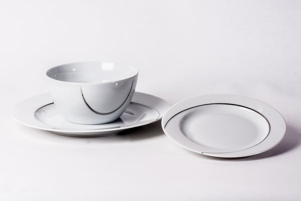 12-Piece Dinner Set | Platinum | Vega - Diamond Fine Porcelain