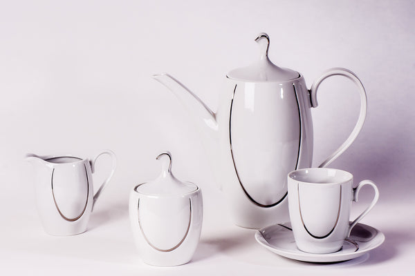 11-Piece Coffee Set | Platinum | Vega - Diamond Fine Porcelain - 1