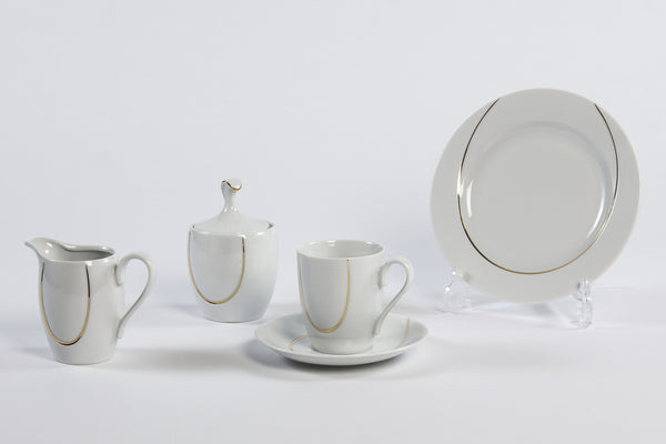 14-Piece Coffee Set | Gold Line | Vega - Diamond Fine Porcelain - 1