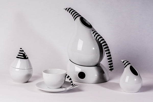 12-Piece Tea Set, Black Stripes | Kropla - Diamond Fine Porcelain
