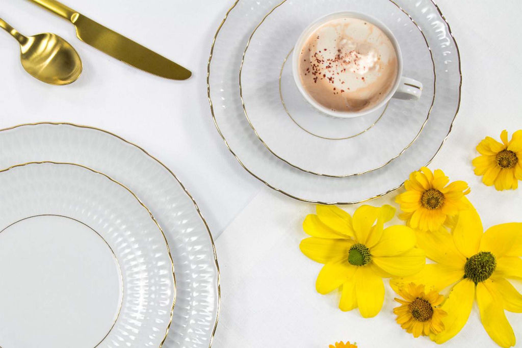 Set of 4 Cups & Saucers | Gold Line | Sofia