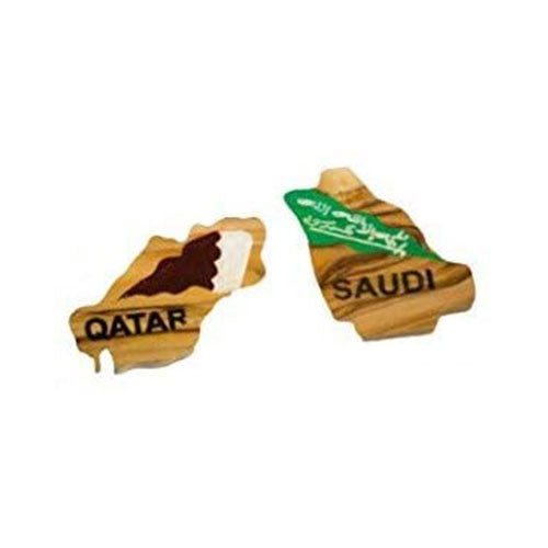 Hand Carved Olive Wood Handmade and Painted Geographical Map of the Oil and Gas Rich Countries of Qatar, and Saudi Arabia Magnet Set