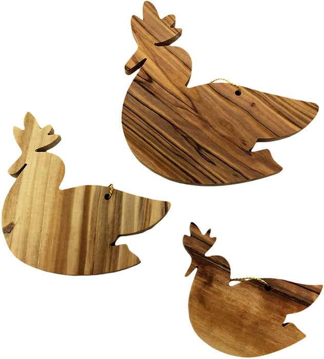 "Olive Wood Handcrafted Rooster Christmas Tree Hanging Ornaments Hand Crafted by Artisans in The Holy Land- 4"" x 3"" (inches)"