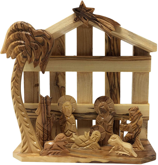 "Olive Wood Christmas Ornament Nativity Scene Handcrafted in The Holy Land by Artisans- 5.5"" x 5.5"" x 2.5"" (inches)"