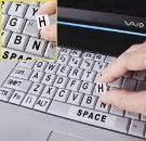 Large Print Computer Keyboard Stick-Ons / Oversized Black Letters on White / Off White Background