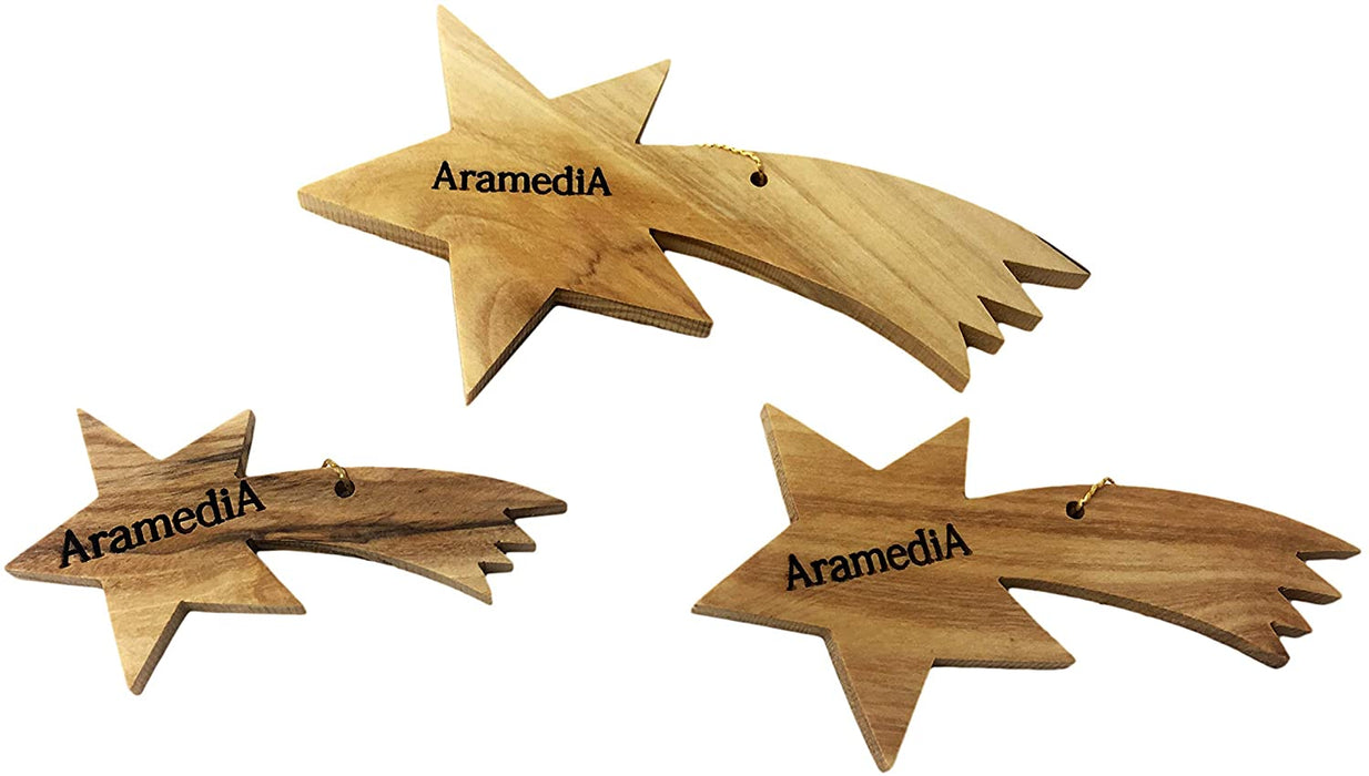 "Olive Wood Handcrafted Christmas Stars Ornament in The Holy Land by Artisans - 4"" x 2"" (inches)"