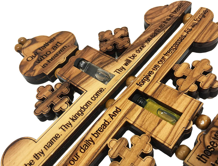 "AramediA Olive Wood Handcrafted Our Father Wall Cross Hand Crafted by Artisans in The Holy Land- 11"" X 7.5"" X 0.5"" (Inches)"
