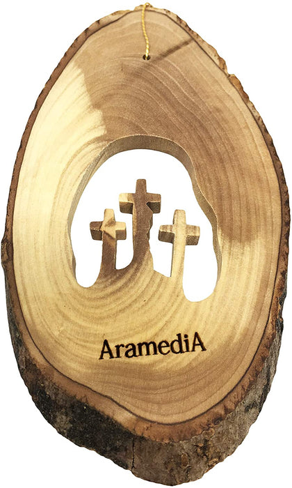 "AramediA Olive Wood Handcrafted Christmas Crosses Ornament in The Holy Land by Artisans - 5"" x 3"" (inches)"