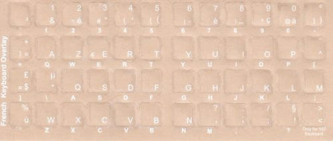 Transparent French Keyboards Stickers- White Characters For Dark Keyboards - Picture Background color Varies from Actual Sticker Background Color is Beige not Black - Transparent Stickers have the same White Characters.