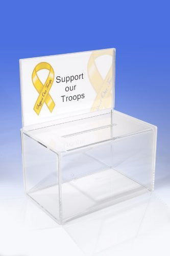 Acrylic Ballot Box Deluxe - W/ Half Page Sign Holder