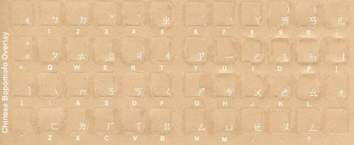 Chinese - Bopomofo Keyboard Stickers - Labels - Overlays with Blue Characters for White Computer Keyboard