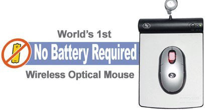 Battery Free Wireless Optical Mouse and a USB 2 ft. Wired Pad - Does Not Use Batteries Totally Green Environmentally Friendly Solution - May Not be Suitable for Computers Located Farther than 2 Feet from Mouse Pad