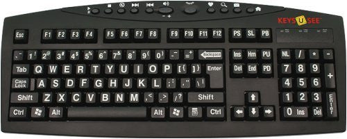 AbleNet Large Print English Black Keyboard with White Letters for the Visually Impaired (MG1512)
