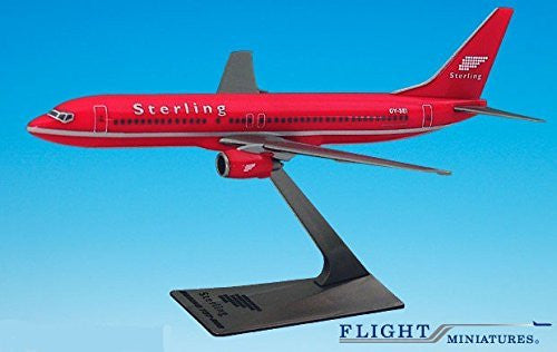 "Sterling ""Red"" 737-800 Airplane Miniature Model Plastic Snap-Fit 1:200 Part# ABO-73780H-018"